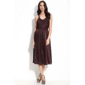 Rebecca Taylor silk blend dress in Rum Raisin